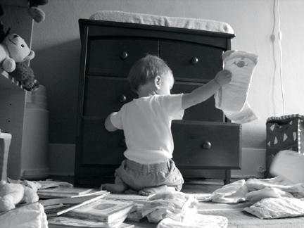 Sorting diapers. Yah. Right